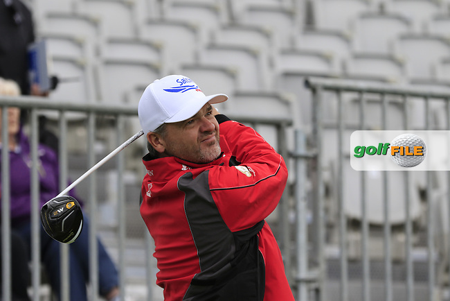 Paul Lawrie (SCO) tees off the 1st tee during Wednesday's Pro-Am of the 2016 Dubai Duty Free Irish Open hosted by Rory Foundation held at the K Club, Straffan, Co.Kildare, Ireland. 18th May 2016.<br /> Picture: Eoin Clarke | Golffile<br /> <br /> <br /> All photos usage must carry mandatory copyright credit (&copy; Golffile | Eoin Clarke)