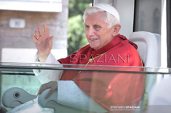 Pope Benedict XVI celebrates mass in St.Peter square in Frascati on the outskirts of Rome on July 15, 2012.