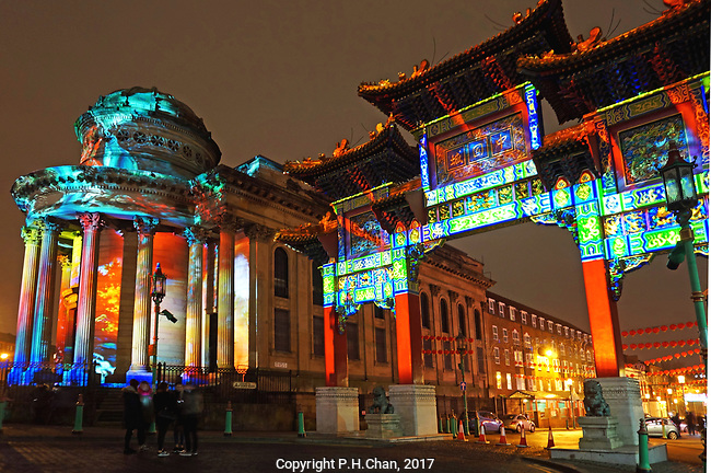 Colourful video projections were shone onto the Chinese Arch and its adjacent buildings in Liverpool's Chinatown to give a spectacular light show on Friday eveing, January 27th. It was in celebration of the Chinese New Year of the Rooster which begins on Saturday, 28th January. The display wil be on for three days, the 27th,28th and 29th Janaury in the evening for an hour.