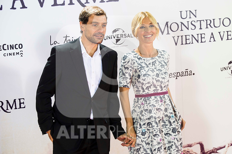 "Cayetana Guilen Cuervo with her husband Omar Ayyashi during the premiere of the spanish film ""Un Monstruo Viene a Verme"" of J.A. Bayona at Teatro Real in Madrid. September 26, 2016. (ALTERPHOTOS/Borja B.Hojas)"