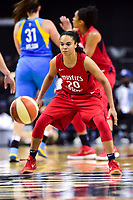 Washington, DC - July 13, 2018: Washington Mystics guard Kristi Toliver (20) plays defense during game between the Washington Mystics and Chicago Sky at the Capital One Arena in Washington, DC. The Mystics defeat the Sky 88-72 (Photo by Phil Peters/Media Images International)