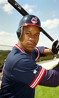 Cleveland Indians Tracy Sanders during Spring Training 1993 at Chain of Lakes Park in Winter Haven, Florida.  (MJA/Four Seam Images)