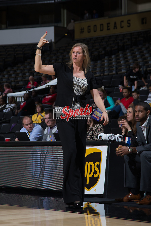Wake Forest Demon Deacons head coach Jen Hoover calls out a play during second half action against the Davidson Wildcats at the LJVM Coliseum on November 17, 2015 in Winston-Salem, North Carolina.  The Demon Deacons defeated the Wildcats 77-58.  (Brian Westerholt/Sports On Film)