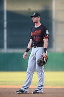 Kyle Petty (22) of the Bakersfield Blaze in the field at first base during a game against the Lancaster JetHawks at The Hanger on June 18, 2016 in Lancaster, California. Bakersfield defeated Lancaster, 10-7. (Larry Goren/Four Seam Images)