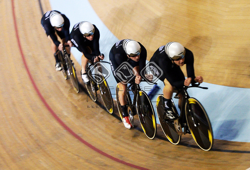 Bronze medal winning Men's 4000m Team Pursuit of Shane Archibold, Pieter Bulling, Dylan Kennett and Marc Ryan. Track Cycling at the Glasgow Commonwealth Games. Sir Chris Hoy Velodrome, Glasgow, Scotland. Thursday 24 July 2014. <br /> &copy; Sport the library / Photosport NZ