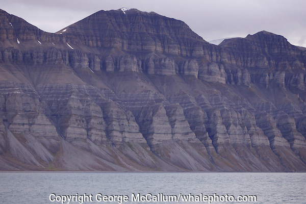 Mountainous landscape on Spitzbergen 900km from the North Pole