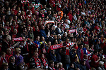Supporters displaying scarves at Liverpool Football Club's Anfield Stadium during a memorial service to mark the 25th anniversary of the 1989 Hillsborough stadium disaster. The Hillsborough disaster led to 96 Liverpool football fans losing their lives in a crush at an FA Cup semi final tie against Nottingham Forest. The families of the victims campaigned against the original verdict of the incident and were rewarded with a new inquiry held in 2014 into events at the match at Hillsborough. Photo by Colin McPherson.