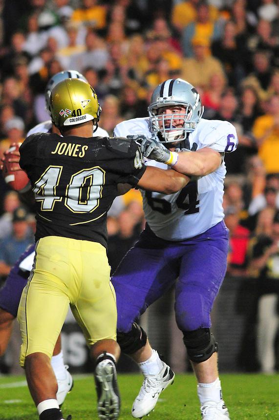 18 October 08: Kansas State tackle Nick Stringer (64) blocks Colorado linebacker Brad Jones (40). The Colorado Buffaloes defeated the Kansas State Wildcats 14-13 at Folsom Field in Boulder, Colorado.