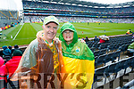 John and Joan Keane (Listowel) cheering on Kerry, at the Kerry v Mayo all Ireland semi-final in Croke Park, on Sunday last.