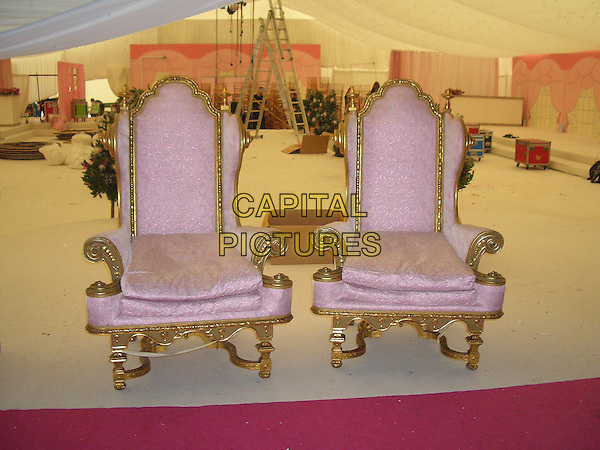 JORDAN &PETER ANDRE'S WEDDING.Where Jordan married Peter Andre on the.10th September 2005 at Highclere Castle in Berkshire .pink throne chairs.Ref : FEE.www.capitalpictures.com.sales@capitalpictures.com.© Capital Pictures.