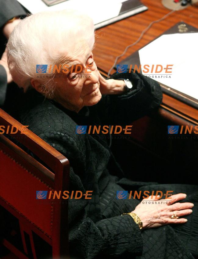 Roma 24-01-2008 Senato: Discussione e voto di fiducia al Governo .Rita Levi Montalcini senatore a vita.Photo Serena Cremaschi Insidefoto
