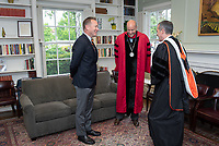 From left: Steven Olson, Trustee; Jonathan Veitch, President; Eric Garcetti, Mayor of the city of Los Angeles.<br /> Families, friends, faculty, staff and distinguished guests celebrate the class of 2019 during Occidental College's 137th Commencement ceremony on Sunday, May 19, 2019 in the Remsen Bird Hillside Theater.<br /> (Photo by Marc Campos, Occidental College Photographer)