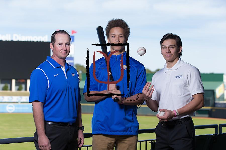 Pflugerville head baseball coach Dale Waggoner, Sebastian Battle and Stephen Pena  (LOURDES M SHOAF for Pflugerville Pflag - lulyphoto.com)