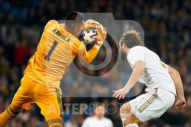 Alphonse Areola of Real Madrid during La Liga match between Real Madrid and Real Sociedad at Santiago Bernabeu Stadium in Madrid, Spain. February 06, 2020. (ALTERPHOTOS/A. Perez Meca)