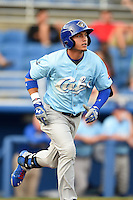 Daytona Cubs outfielder Albert Almora (6) runs to first during a game against the Dunedin Blue Jays on April 14, 2014 at Florida Auto Exchange Stadium in Dunedin, Florida.  Dunedin defeated Daytona 1-0  (Mike Janes/Four Seam Images)