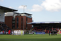 Players observe a one minute silence on Remembrance Sunday during Leyton Orient vs Maldon & Tiptree, Emirates FA Cup Football at The Breyer Group Stadium on 10th November 2019