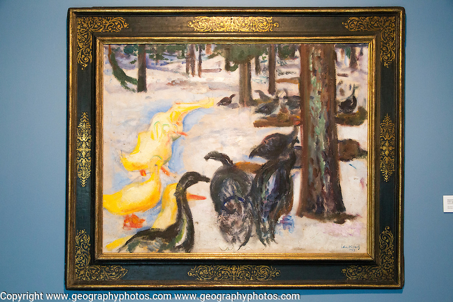 """""""Duck and Turkeys"""" 1913 by Edvard Munch, (1863-1944), oil on canvas, Kode 4 art gallery Bergen, Norway - copyright restrictions in USA and Spain"""
