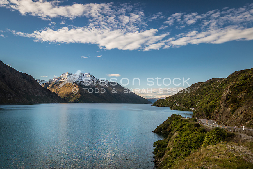 View from The Devils Staircase of Halfway Bay and Bayonet Peaks, Lake Wakatipu, South Island, New Zealand - stock photo, canvas, fine art print