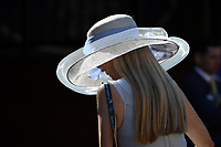 DEL MAR, CA - NOVEMBER 04: Fashionable hats were on display during the 2017 Breeders' Cup World Championships at Del Mar Racing Club on November 4, 2017 in Del Mar, California. (Photo by Bob Mayberger/Eclipse Sportswire/Breeders Cup)