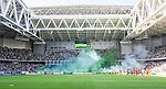 Stockholm 2014-05-24 Fotboll Superettan Hammarby IF - Varbergs BoIS FC  :  <br /> Vy &ouml;ver r&ouml;kfyllt Tele2 Arena n&auml;r Hammarbys supportrar eldar med bengaliska eldar innan matchen<br /> (Foto: Kenta J&ouml;nsson) Nyckelord:  Superettan Tele2 Arena HIF Bajen Varberg BoIS supporter fans publik supporters