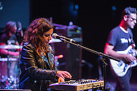 Ceci Bastida plays the keyboard during supergroup Mexrrissey's performance of Me Choca Cuando Mis Amigos Triunfan (We Hate it When Our Friends Become Successful) at the Perelman Theater in Philadelphia on October 30, 2016.