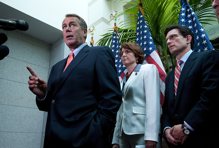 UNITED STATES - July 7:  Speaker of the House John Boehner, R-Ohio, Rep. Cathy McMorris Rodgers, R-Wash, and House Majority Leader Eric Cantor, R-Va., answer questions of reporters after the House Republican Conference in the U.S. Capitol. (Photo By Douglas Graham/Roll Call)