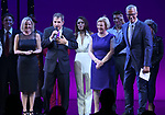 Kathleen Marshall, Sciott Marshall, Barbara Marshall and Jerry Mitchell with cast during the Curtain Call for the Garry Marshall Tribute Performance of 'Pretty Woman:The Musical' at the Nederlander Theatre on August 2, 2018 in New York City.