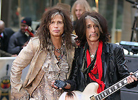 NEW YORK, NY - NOVEMBER 2: Steven Tyler and Joe Perry pictured as Aerosmith perform on NBC's Today Show at Rockefeller Center in New York City. November 2, 2012. Credit: RW/MediaPunch Inc. .<br />