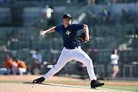 Starting pitcher Chase Ingram (18) of the Columbia Fireflies delivers a pitch in a game against the Augusta GreenJackets on Sunday, July 30, 2017, at Spirit Communications Park in Columbia, South Carolina. Augusta won, 6-0. (Tom Priddy/Four Seam Images)