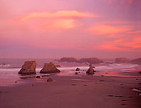 Sunrise and clouds at Bandon Beach, Oregon