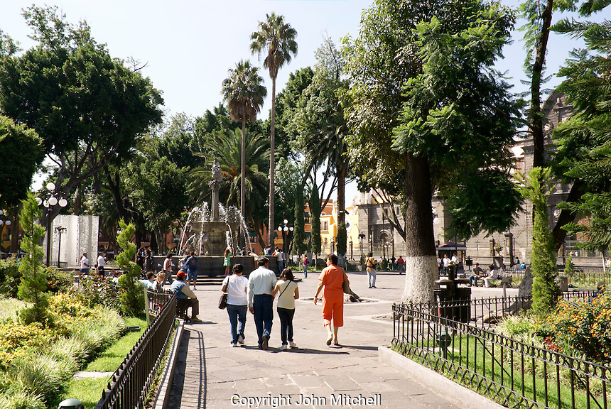Zocalo or main square in the city of Puebla, Mexico. The historical center of Puebla is a UNESCO World Heritage Site.