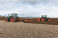 Ploughing and power harrowing in beans that have been broadcast on to stubble<br /> &copy;Tim Scrivener Photographer 07850 303986<br />      ....Covering Agriculture In The UK....