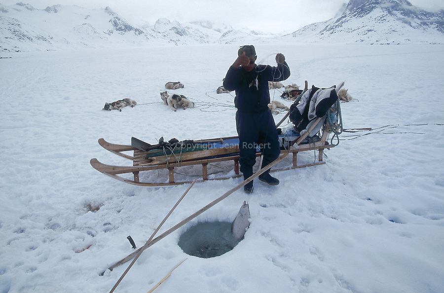 Inuit pêchant , au trou, le flétan sur la banquise. Groënland (côte Est). Région d'Angmagssalik (Ammasalik ou Tassilaq). Eskimo fishing halibut on the ice floe ; Greenland (East coast).