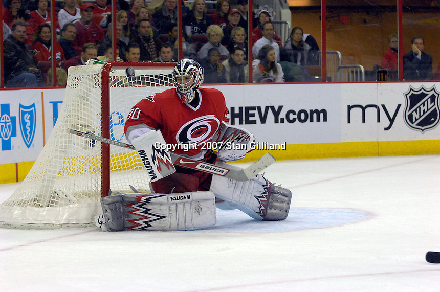 Carolina Hurricanes' goalie Cam Ward (30) watches a shot from the Toronto Maple Leafs hit the post Tuesday, Jan. 30, 2007 at the RBC Center in Raleigh. The Leafs won 4-1.