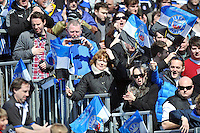A general view of Bath supporters in the crowd. Amlin Challenge Cup quarter-final, between Bath Rugby and Stade Francais on April 6, 2013 at the Recreation Ground in Bath, England. Photo by: Patrick Khachfe / Onside Images