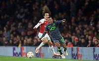 Nani of Sporting CP and Mattéo Guendouzi of Arsenal  during the UEFA Europa League group match between Arsenal and Sporting Clube de Portugal at the Emirates Stadium, London, England on 8 November 2018. Photo by Andrew Aleks / PRiME Media Images.<br /> .<br /> (Photograph May Only Be Used For Newspaper And/Or Magazine Editorial Purposes. www.football-dataco.com)
