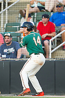 Justin Bohn (14) of the Greensboro Grasshoppers waits for his turn to bat during the game against the Kannapolis Intimidators at CMC-Northeast Stadium on June 14, 2014 in Kannapolis, North Carolina.  The Grasshoppers defeated the Intimidators 4-2.  (Brian Westerholt/Four Seam Images)