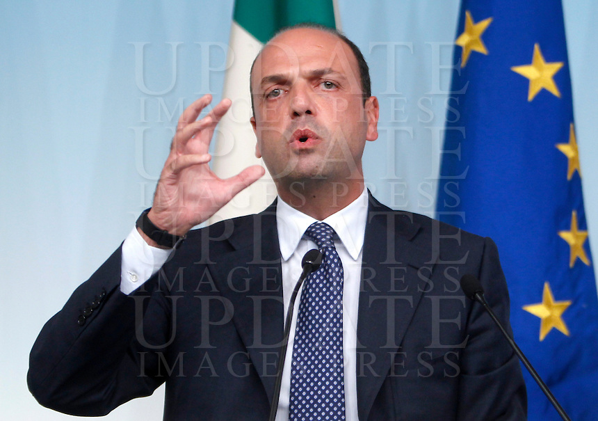Il Ministro dell'Interno e Vicepresidente del Consiglio Angelino Alfano durante la conferenza stampa al termine del consiglio dei ministri a Palazzo Chigi, Roma, 15 ottobre 2013.<br /> Italian Interior Minister and Deputy Premier Angelino Alfano during the press conference at the end of a cabinet meeting at Chigi Palace, Rome, 15 October 2013.<br /> UPDATE IMAGES PRESS/Riccardo De Luca