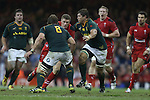 No way through for Wales outside half as the Springbok pair Duane Vermeulen and Francois Louw close the gap.<br /> <br /> 2013 Dove Men Series<br /> Wales v South Africa<br /> Millennium Stadium<br /> 09.11.13<br /> &copy;Steve Pope-Sportingwales