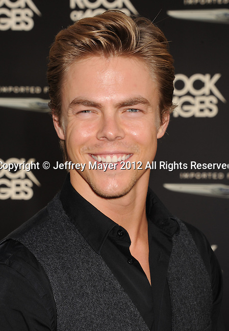 HOLLYWOOD, CA - JUNE 08: Derek Hough  arrives at the 'Rock Of Ages' - Los Angeles Premiere at Grauman's Chinese Theatre on June 8, 2012 in Hollywood, California.