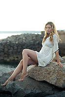 Amateur model, Leanne Hall, models clothing from River Island.<br /> <br /> Image shot at St. Helier harbour, Jersey.