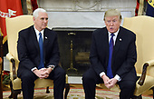 United States President Donald J. Trump and US Vice President Mike Pence meet with bipartisan Congressional leadership in the Oval Office  of the White House , December 7, 2017 in Washington, DC.  <br /> Credit: Olivier Douliery / Pool via CNP