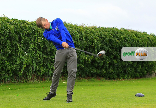 James Cronin (Woodbrook) on the 5th tee during Round 3 of the 2016 Connacht U18 Boys Open, played at Galway Golf Club, Galway, Galway, Ireland. 07/07/2016. <br /> Picture: Thos Caffrey | Golffile<br /> <br /> All photos usage must carry mandatory copyright credit   (&copy; Golffile | Thos Caffrey)