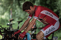 Cyril Lemoine (FRA/Cofidis), pre race, warming up<br /> <br /> <br /> Baloise Belgium Tour 2018<br /> Stage 3: ITT Bornem - Bornem (10.6km)