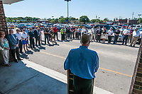 Hadler Company CEO George Hadler talks to the crowd gathered before the start of the demolition of a large portion of Westerville Square Shopping Center to make way for the construction of a new WalMart store in the Columbus suburb. The store will approximately 108,000-square-feet, about half the  size of a traditional WalMart super store.