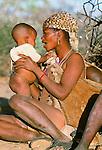San Bushmen mother and child, Kalahari Desert, Botswana
