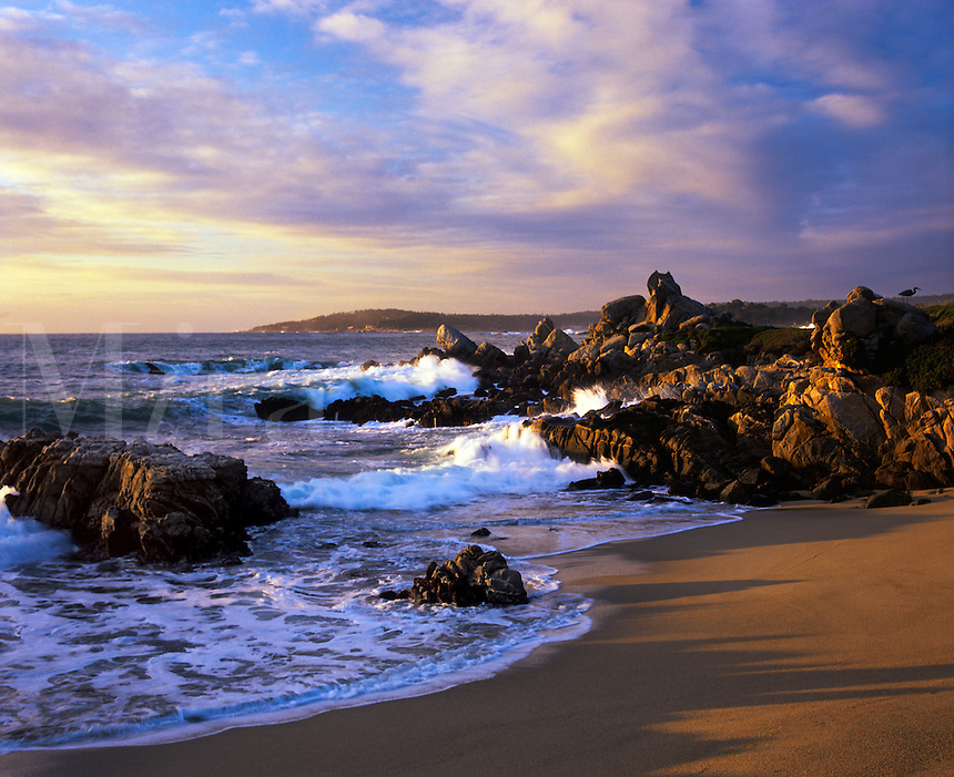 WAVES roll into a cove on SOUTH CARMEL RIVER BEACH also known as RIBERA BEACH just north of POINT LOBOS STATE PARK - CARMEL, CALIFORNIA