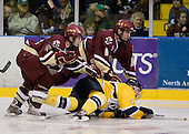 Ben Smith (BC - 12), Patrick Wey (BC - 6), Chris Barton (Merrimack - 23) - The Merrimack College Warriors defeated the Boston College Eagles 5-3 on Sunday, November 1, 2009, at Lawler Arena in North Andover, Massachusetts splitting the weekend series.
