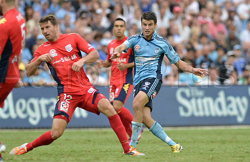 16.02.2013 Sydney, Australia.Sydney midfielder Terry Antonis  scores during the Hyundai A League game between Sydney FC and Adelaide United from the Allianz Stadium.