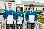 High Achievers : Students from St Michaels College, Listowel who received their Junior cert results on Wednesday morning . L - R Daniel Sheehan , 10 A's. Eddie Kelly, 8 A's & Darragh Mculiffe, 11 A's.